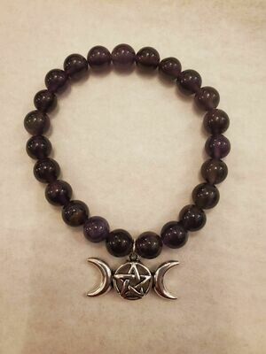 Bracelet Amethyst with triple moon /  Stretch (8mm)