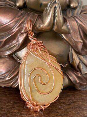 Pendant Copper & Tumbled Honey Calcite  -Handmade by Goddess Janelle