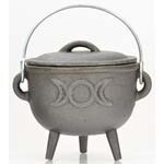 Cauldron Cast Iron with Handle Triple Moon with Lid (4x4)