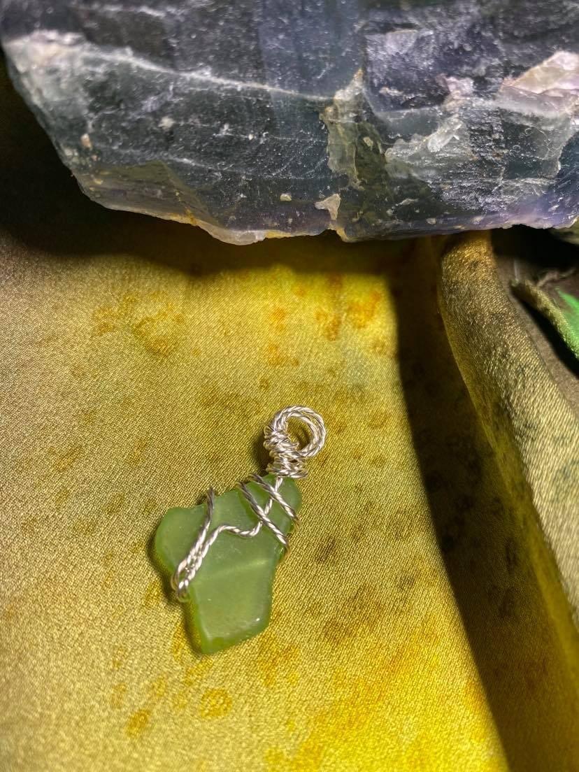 Pendant Newfoundland Green Sea Glass(Twist) -Handmade by Goddess Janelle