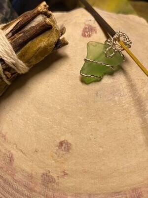 Pendant Newfoundland Green Sea Glass(Twist) -Handmade by Goddess Janelle (Number TWO)
