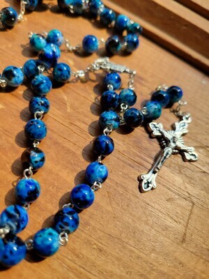 "Rosary Dark Blue Glass Beaded- 22"""