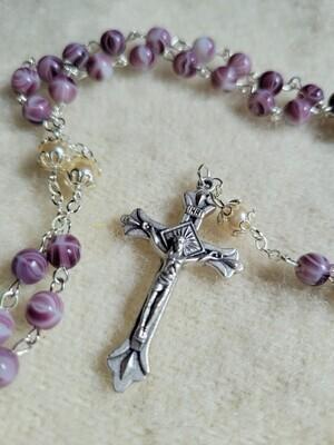 "Rosary Purple/White Glass Beaded- 19"""