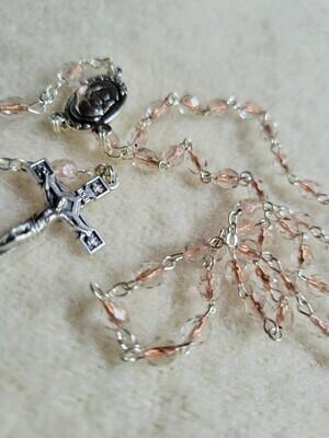 "Rosary Peach Cylinder 4mm Crystal beaded -16"""