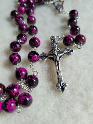 Rosary Purple/Pink Glass Bead -22inch