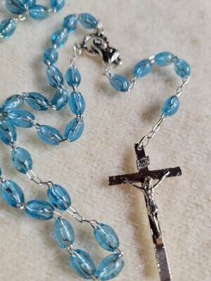 Rosary Clear Blue Plastic Beaded- 17 Inches.