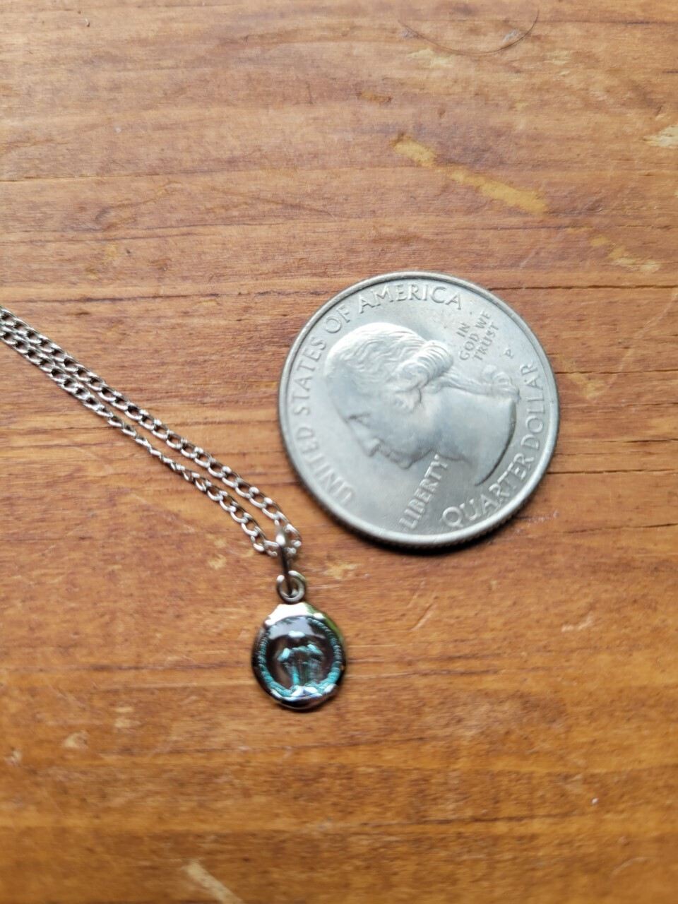 """Pendant Miraculous Sterling (with) Stainless Chain -approx 18"""""""