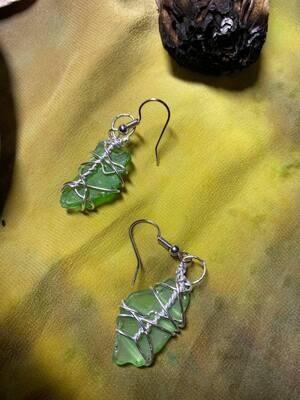 Earrings Newfoundland Green Sea Glass-Handmade by Goddess Janelle