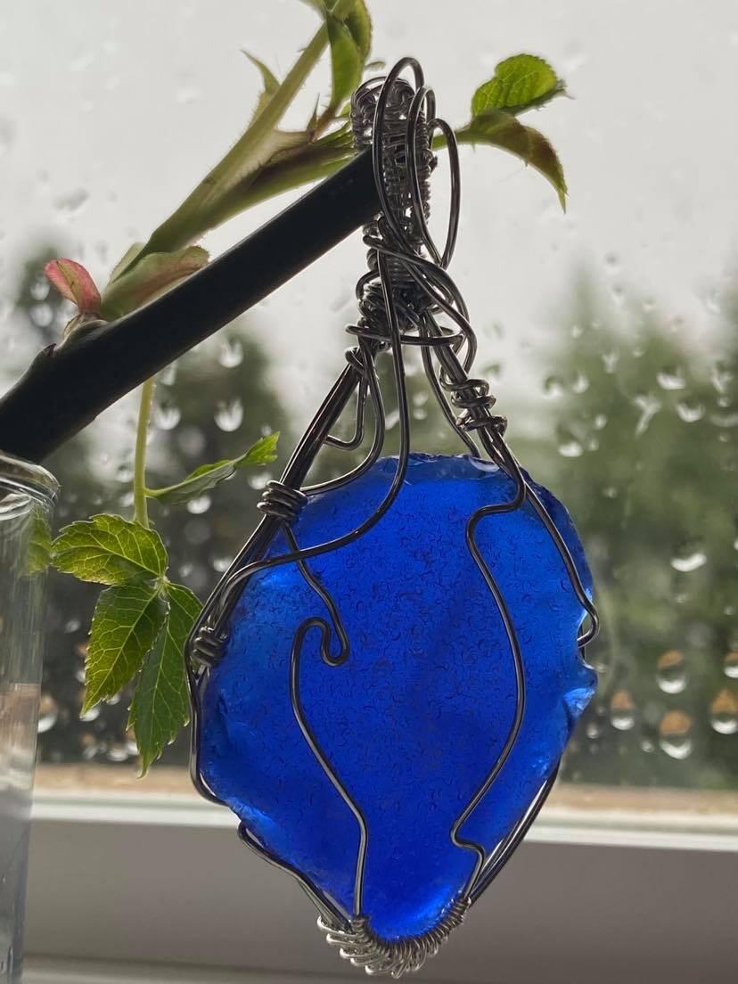 Pendant Newfoundland Stunning Blue Sea Glass-Handmade by Goddess Janelle