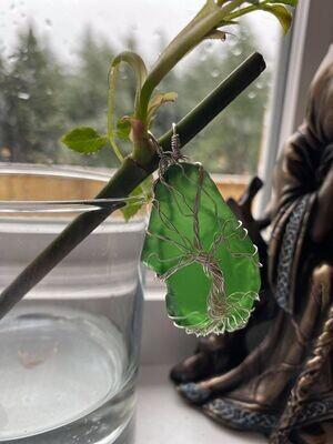Pendant Stunning Green Tree of Life(Newfoundland) Sea Glass-Handmade by Goddess Janelle