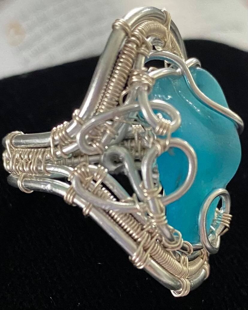 Ring Aqua Blue Sea Glass !!!!  Detail! Detail!! Detail !!!-Handmade by Goddess Janelle