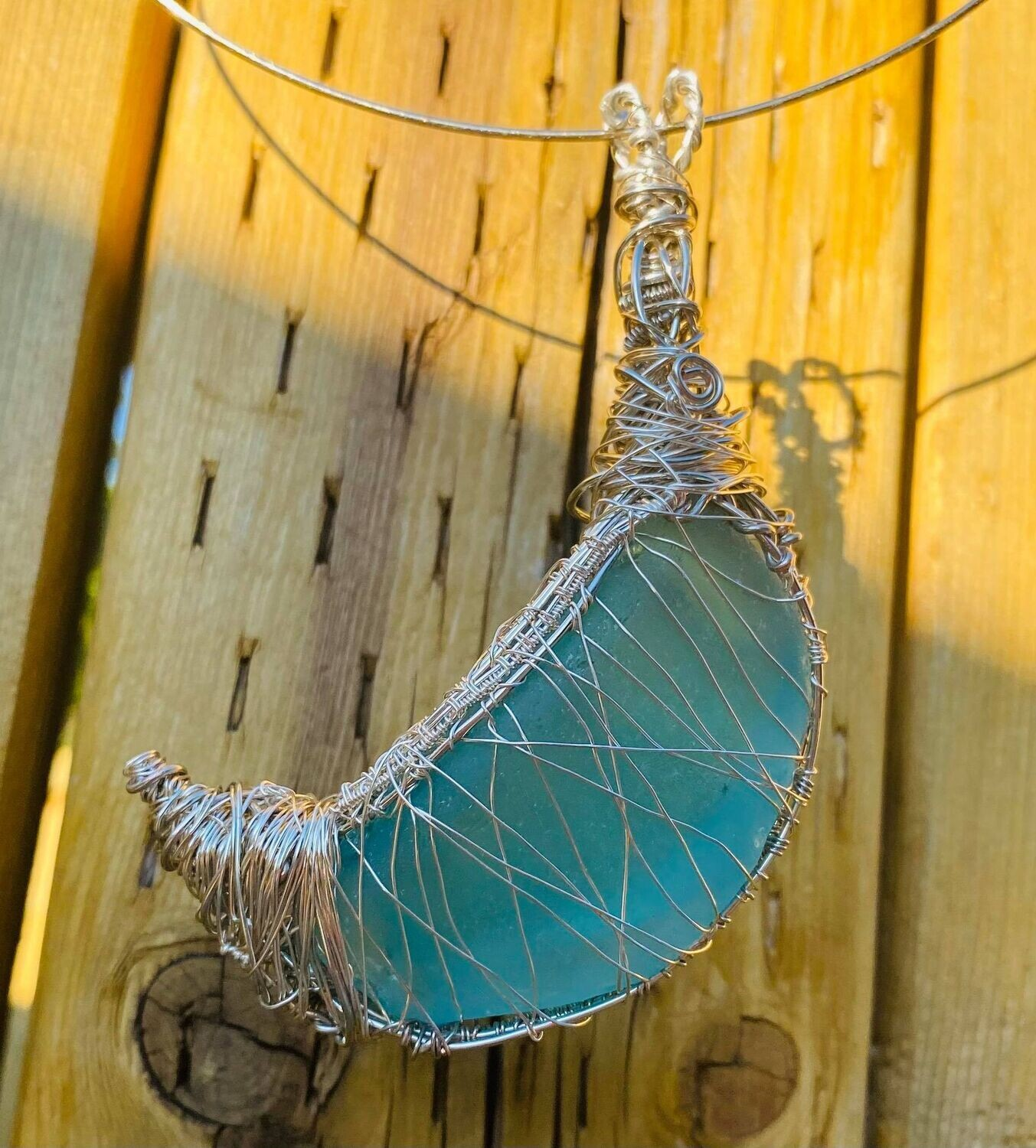 Pendant ONCE in a BLUE Moon Sea Glass !! Amazing NEW**- Handmade by Goddess Janelle