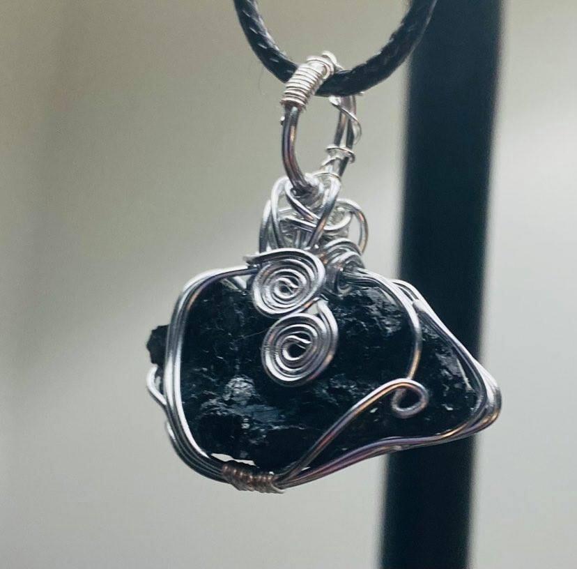 Pendant Black Tourmaline Protection-Handmade by Goddess Janelle