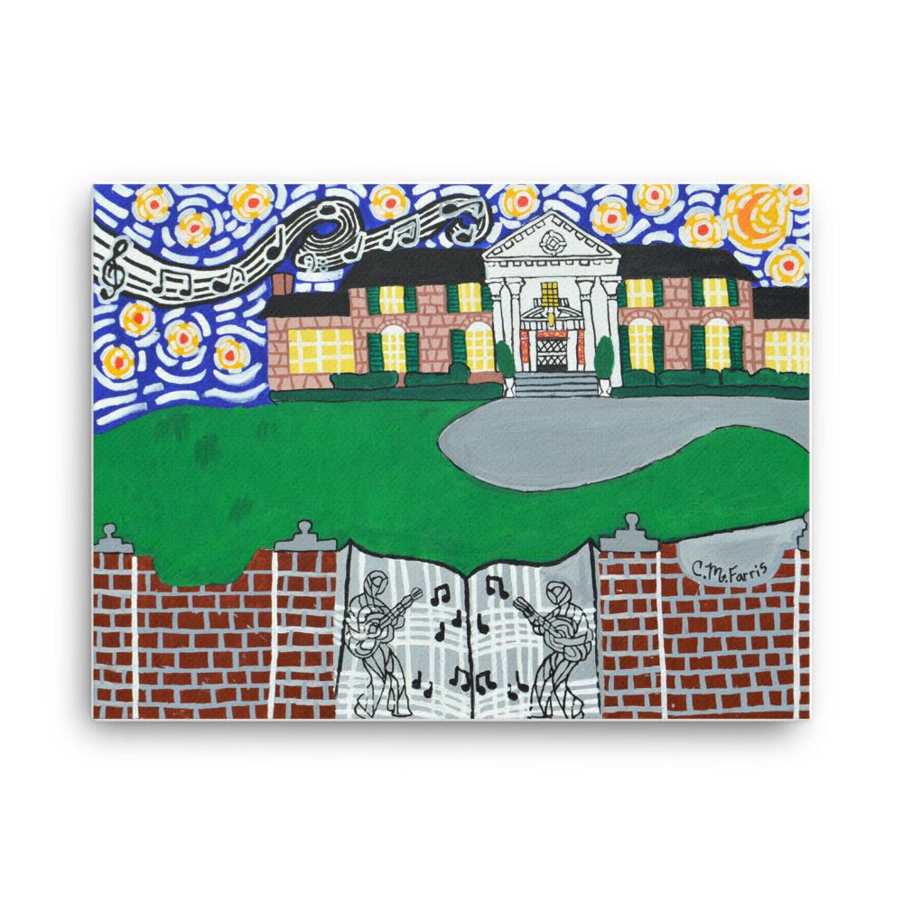 Memphis Nights over Graceland 18X24 Canvas Print