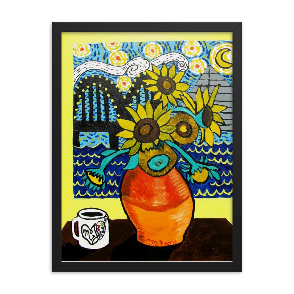 Sunflowers under Memphis Nights 18X24 Framed Print