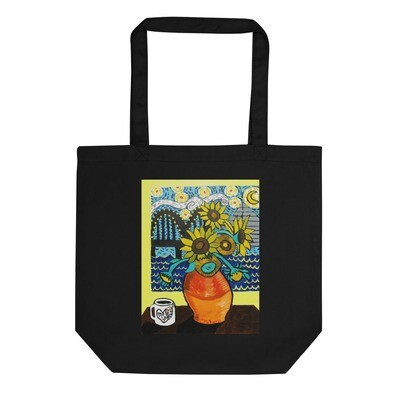 Sunflowers under Memphis Nights Eco Tote Bag