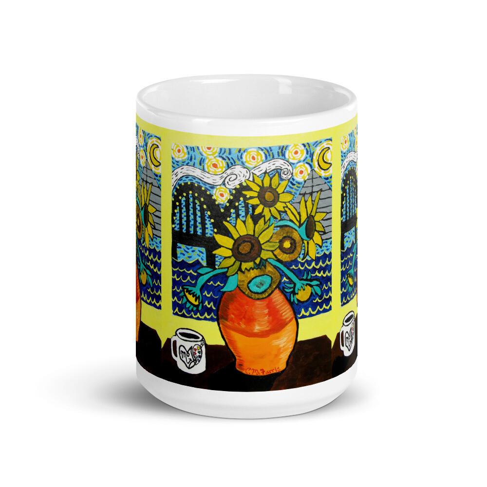 Sunflowers under Memphis Nights Mug