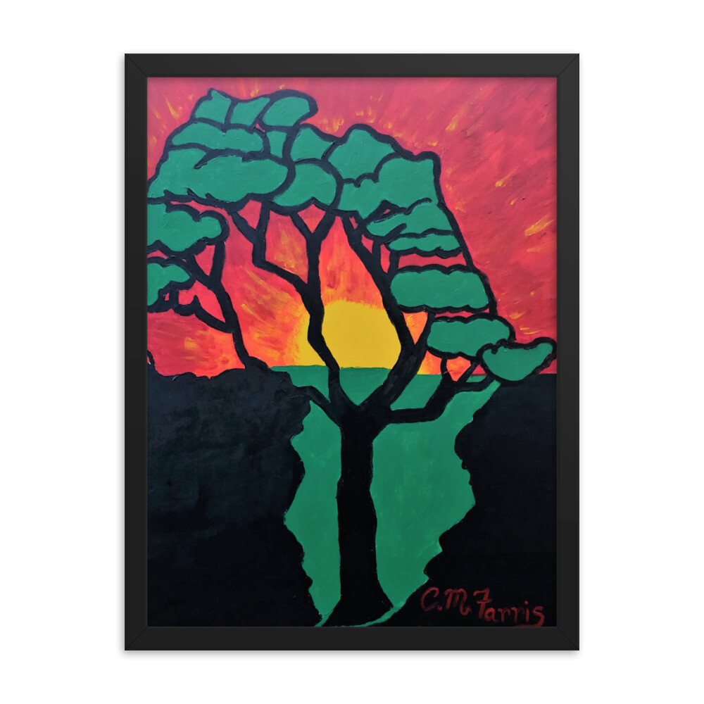 African Sunset  18X24 Framed Print