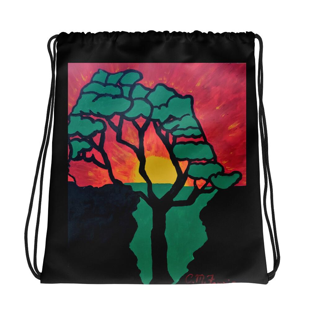 African Sunset Drawstring bag