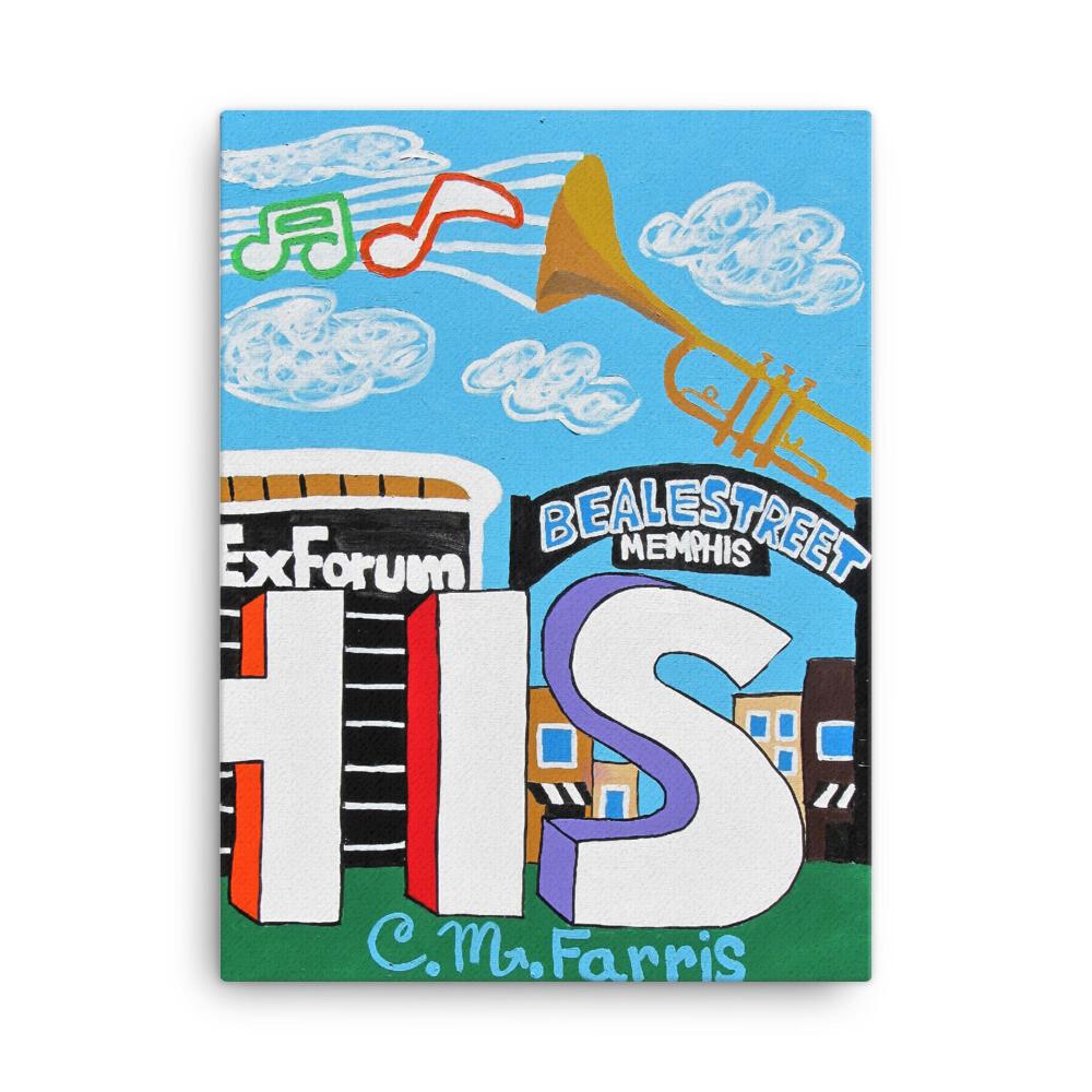Sights & Sounds of Memphis (3 of 3 pc set) 18x24 Canvas