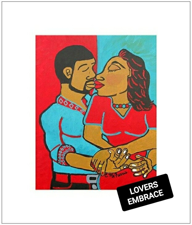 Lovers Embrace Matted Print 14x18