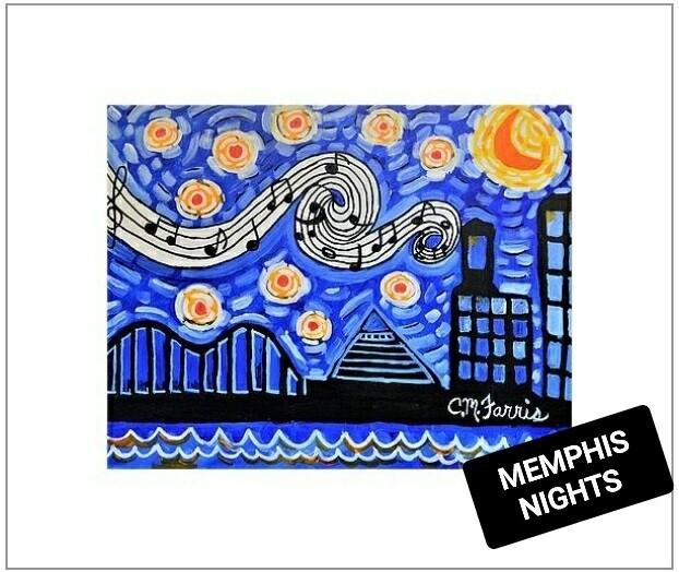Memphis Nights Matted Print 14x18