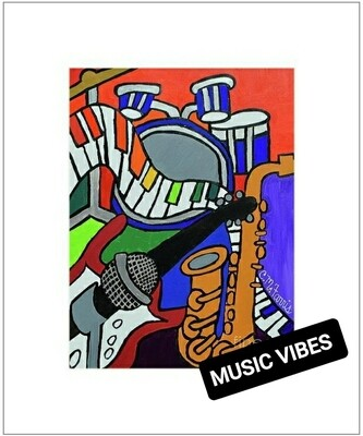 Music Vibes Matted Print 14x18