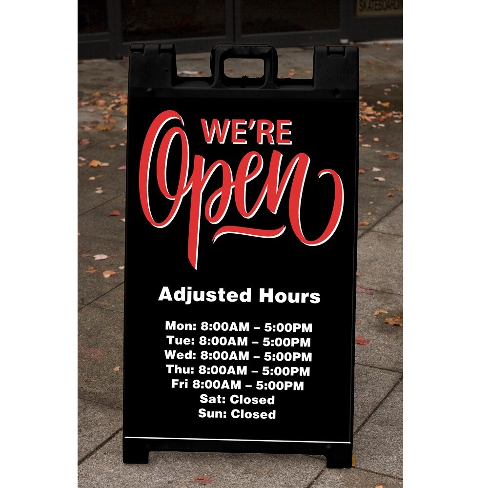 """We're Open: Adjusted Hours"" Corrugated Panel For A-Frame"