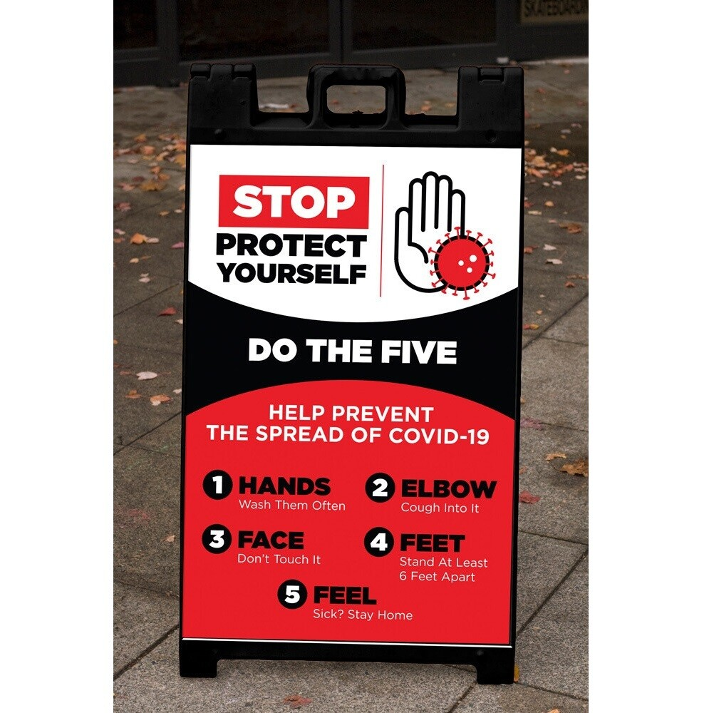 """""""Stop: Protect Yourself Do the Five"""" Corrugated Panel For A-Frame"""