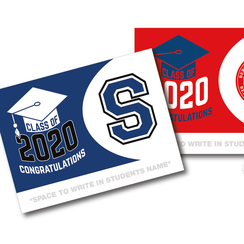 """18""""x24"""" Double-sided 2020 Graduation Lawn Signs w/Metal H-Stake"""