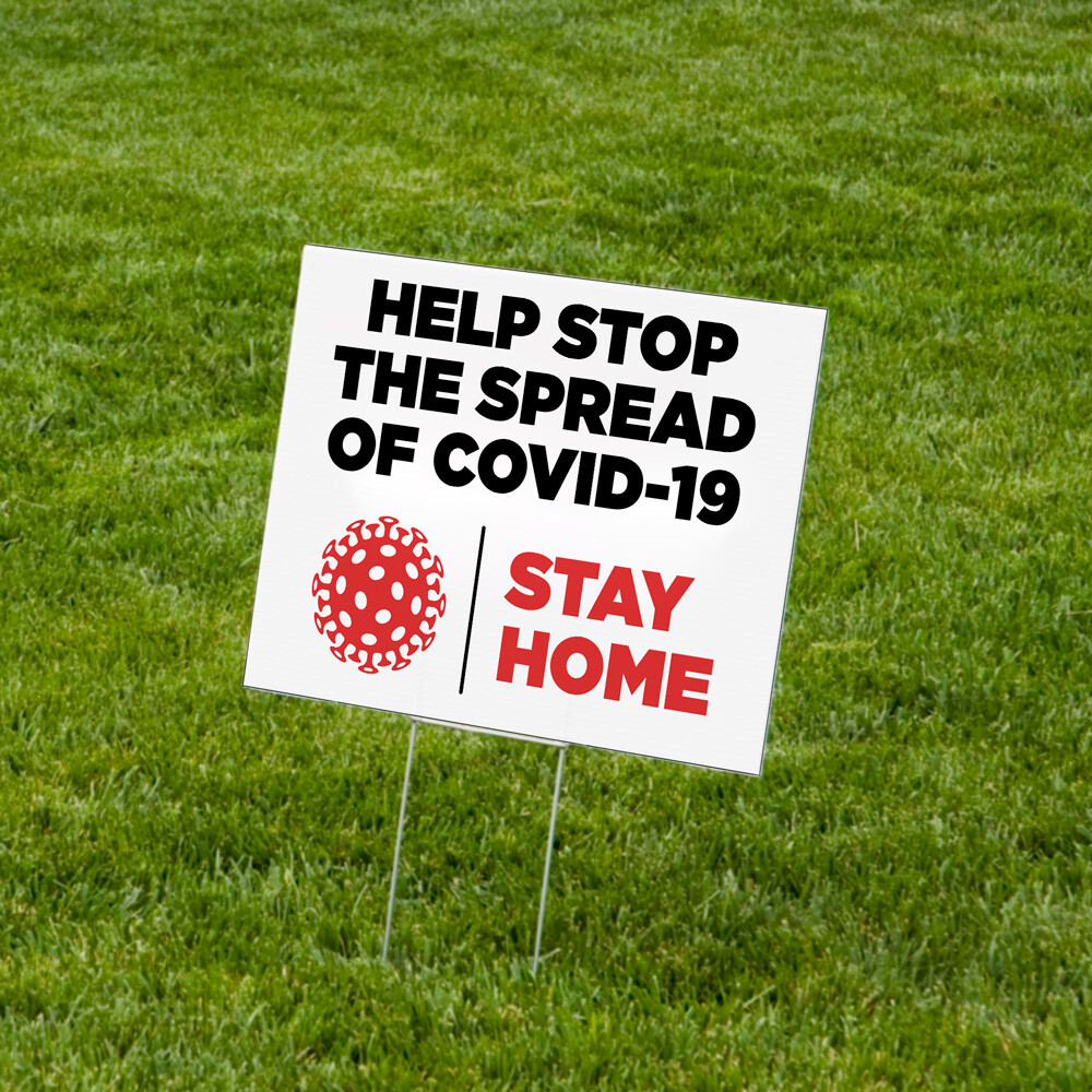 """""""Help Stop the Spread"""" Lawn Signs 18""""x24"""" Corrugated Plastic - 10 Pack"""
