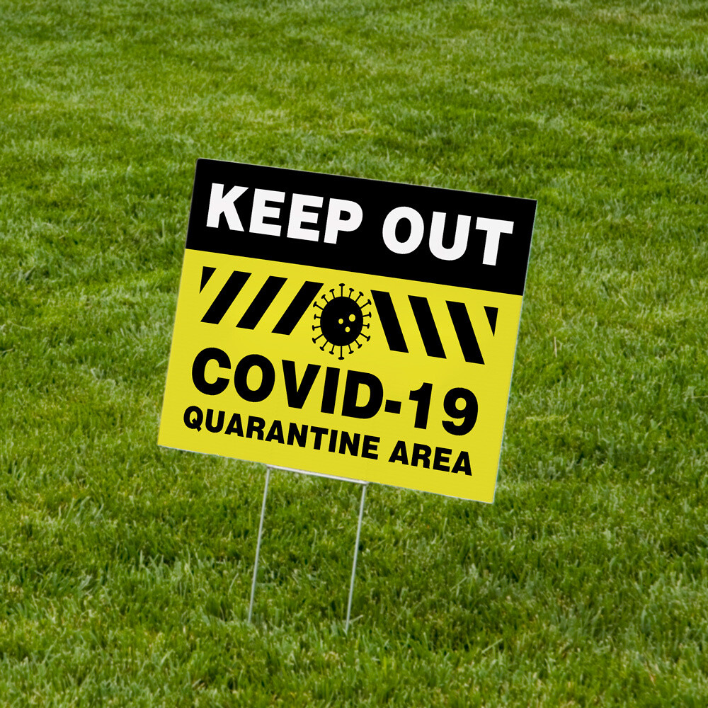"""""""Keep Out Quarantine Area"""" Lawn Signs 18""""x24"""" Corrugated Plastic - 10 Pack"""