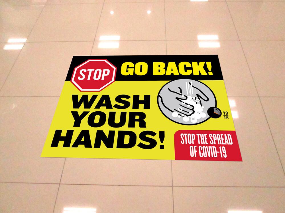 """""""Wash Your Hands"""" 18""""x24"""" Vinyl Floor Decal -10 Pack"""