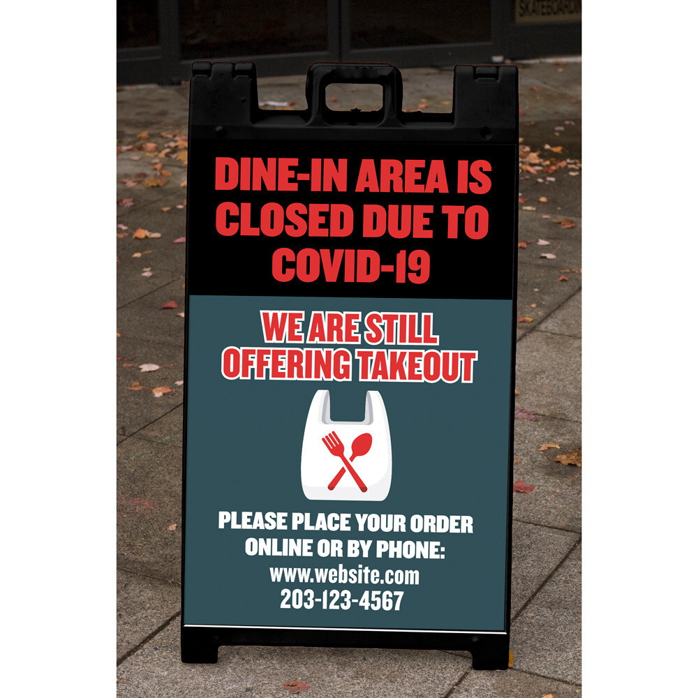 """Dine-In Area Closed"" Corrugated Panel For A-Frame"