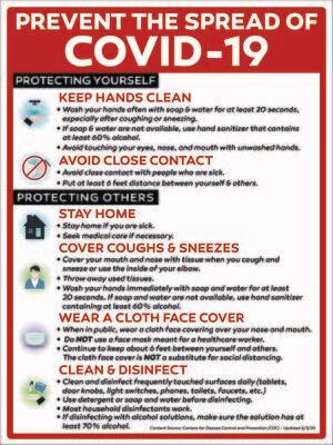 Prevent the Covid 19 Spread Informative PVC Sign - ENGLISH