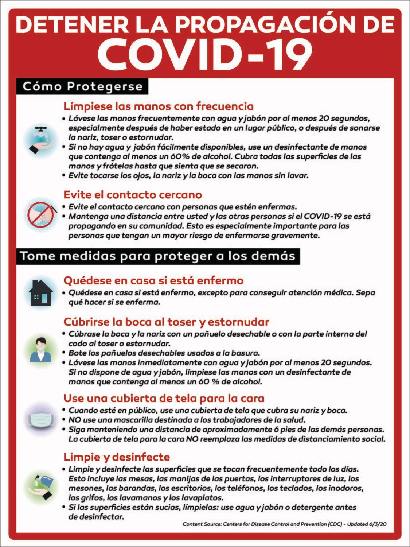 Prevent the Covid 19 Spread Informative PVC Sign - SPANISH