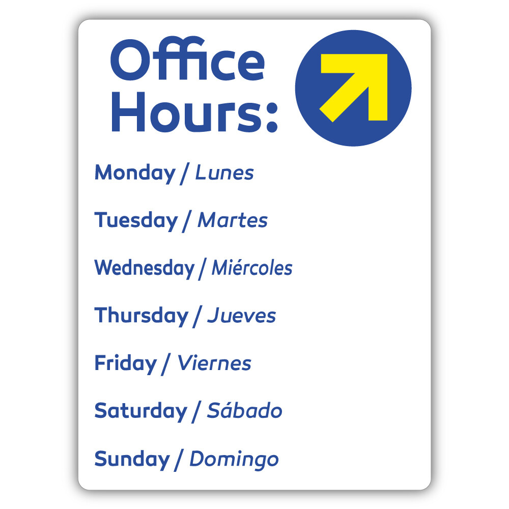 "9"" x 12"" Office Hours Dry Erase PVC"