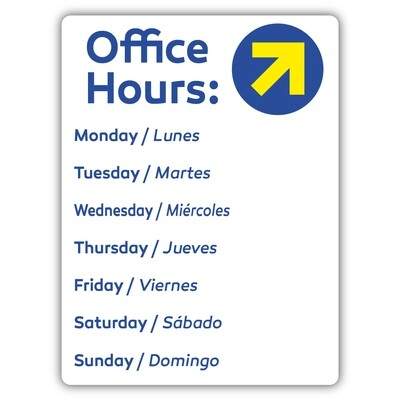 """9"""" x 12"""" Office Hours Dry Erase PVC"""