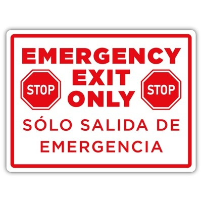 """12"""" x 9"""" Emergency Exit Only"""