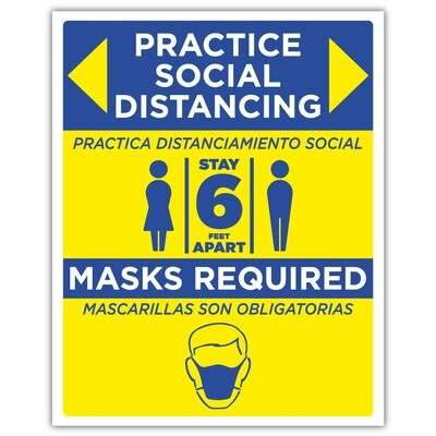 """48"""" x 60"""" Practice Social Distancing/Masks Required"""