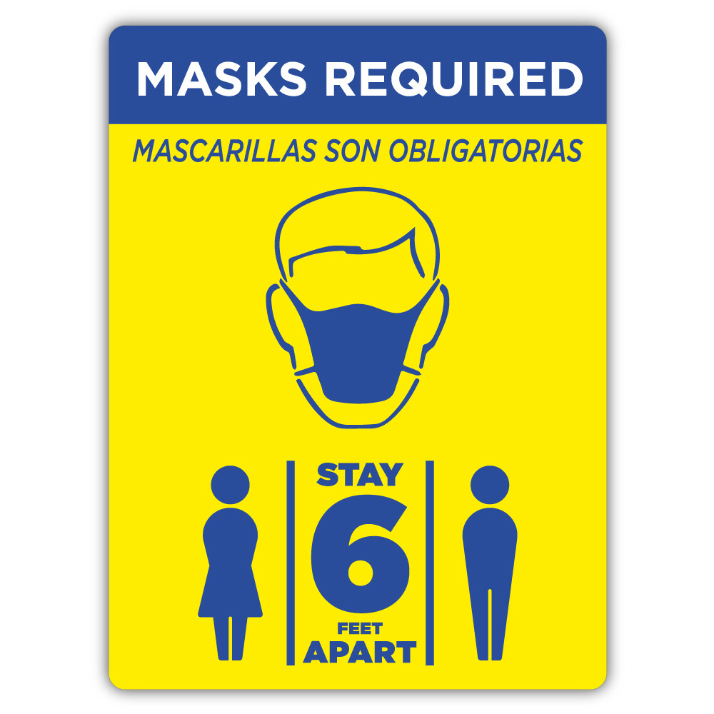 "9"" x 12"" Masks Required PVC Sign"