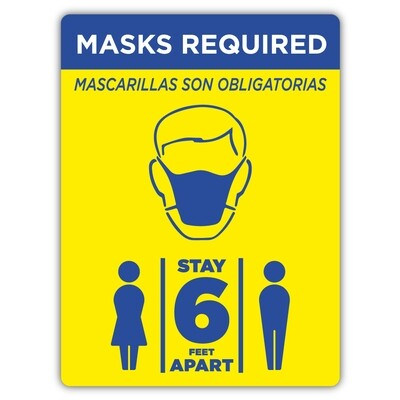"""9"""" x 12"""" Masks Required PVC Sign"""