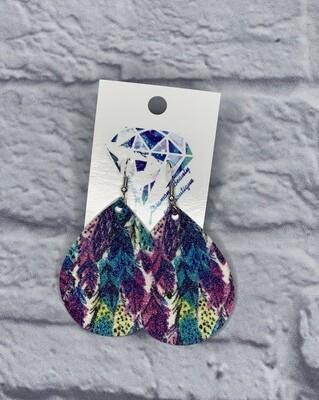 Glitter Feather Teardrop Earrings