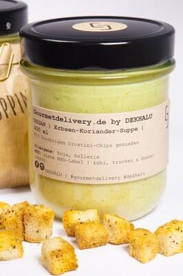 Erbsen-Koriander-Suppe mit Haselnusscroutons   400 ml