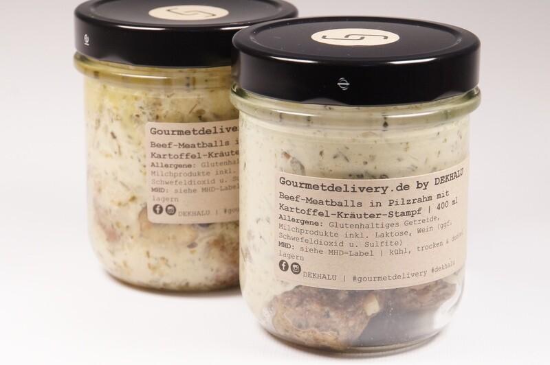 Beef-Meatballs in Pilzrahm mit Kartoffel-Kräuter-Stampf | 400 ml