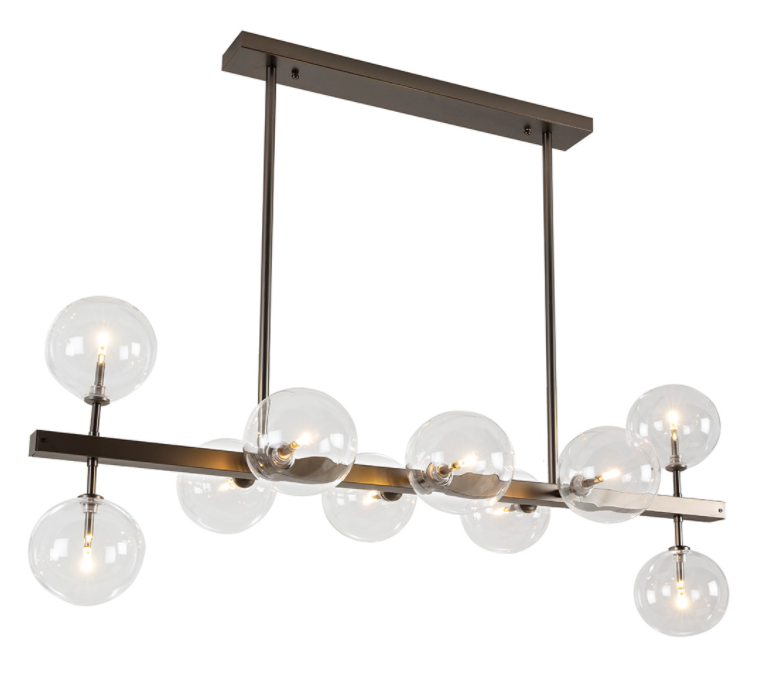 CEILING LAMP / METAL BLACK & GLASS 110x45x86