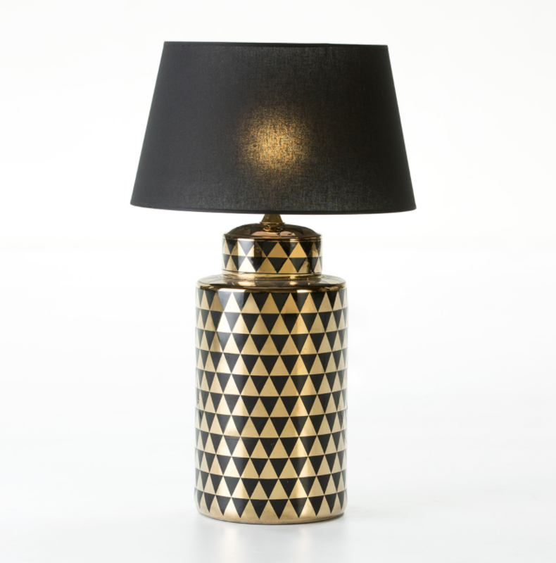 TABLE LAMP BLACK & GOLD CERAMIC + LAMPSHADE