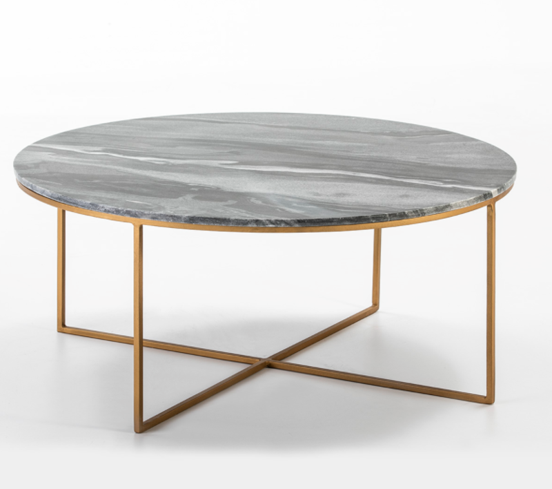 COFFEE TABLE MARBLE GREY / GOLD METAL
