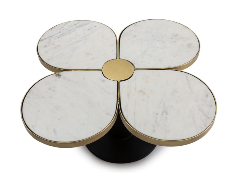 COFFEE TABLE MARBLE WHITE & METAL GOLD BLACK