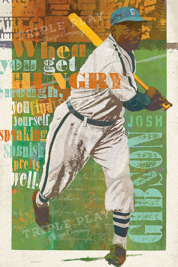 Josh Gibson: Homestead Grays — Celebrating 100 Years of the Negro Leagues — Illustrated Art Print Certified by the JGF